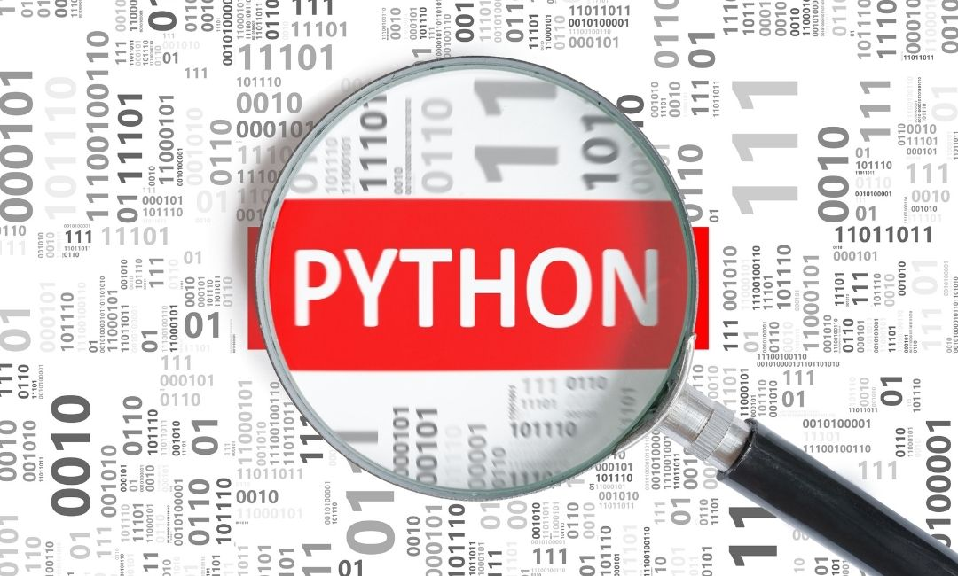 Python text behind magnifying glass